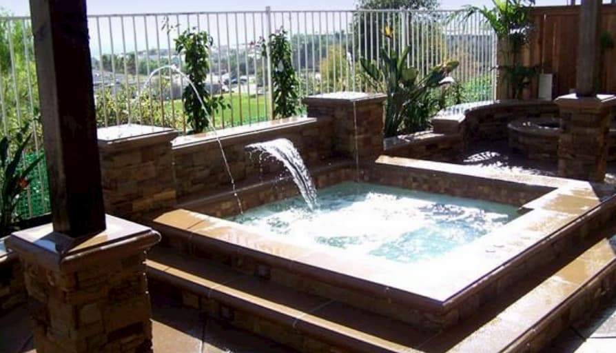 Does a hot tub increase home value? This image is of a built in hot tub which is said to increase the value of a home