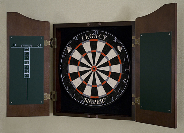Dartboard and cabinet with chalkboard