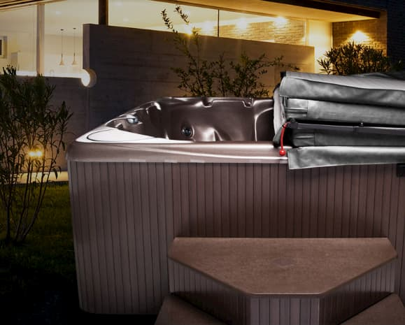 Beachcomber Heatshield spa covers help trap heat and moisture inside the hot tub to save more money