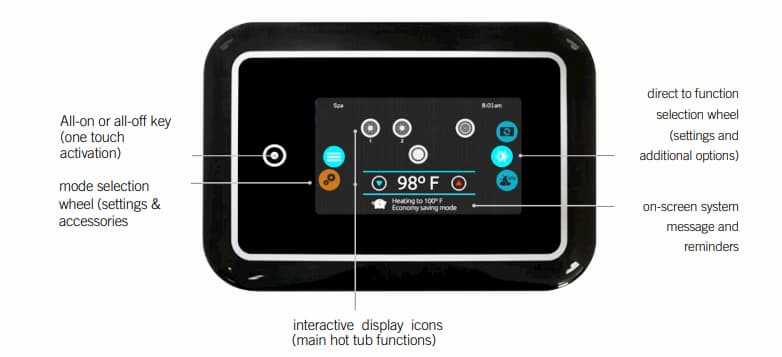 Digital control to set the recommended hot tub temperature in a Beachcomber hot tub