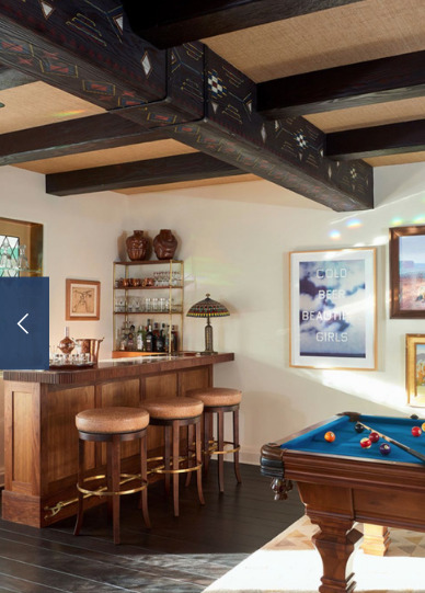 Speakeasy vibe in the bar area of your entertainment room