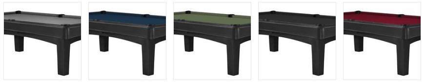5 different colours of billiard felt to choose from in the Elle II pool table