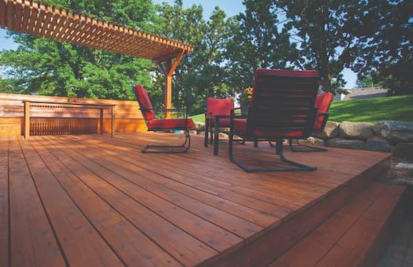 Pergola on backyard deck
