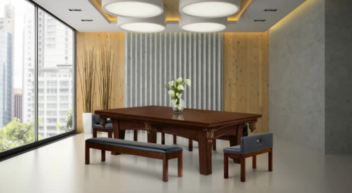 Ella has a complete dining package and is specifically made to be a pool table dining table