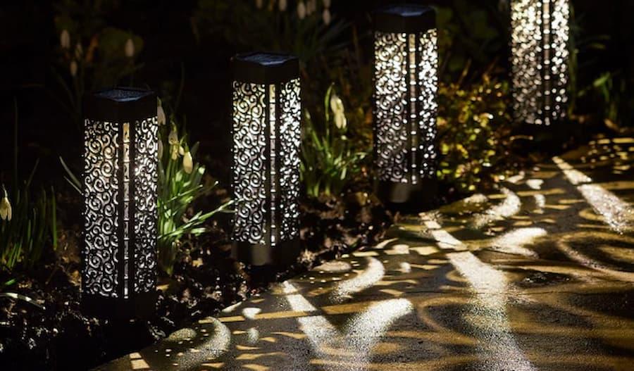 outdoor lanterns along the path