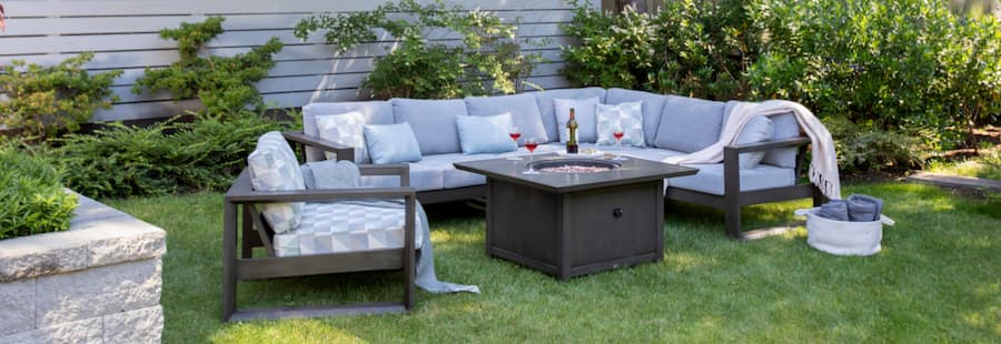 Ratana sectional couch with firepit and deep seating single lounge chair