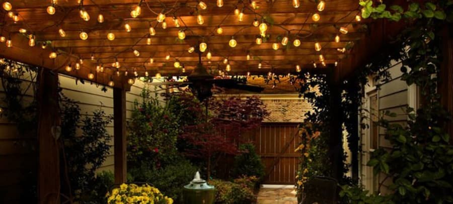 string lights make for excellent backyard lighting ideas