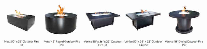 Fire Table options in style and shape from Cabana Coast