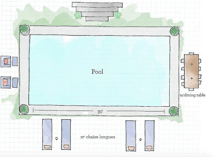 Poolside furniture arrangement template