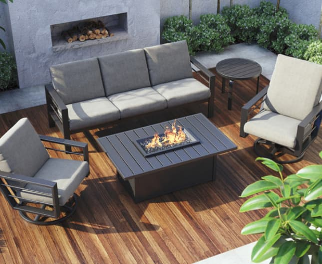 Homecrest fire table that serves as a coffee table