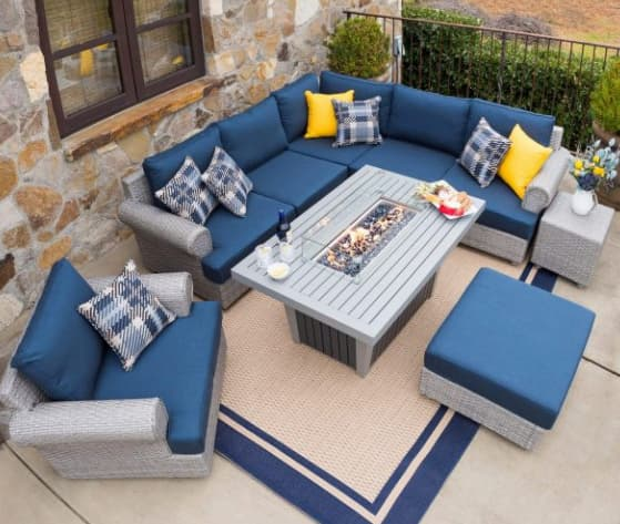 Corner seating with a sectional couch and fire pit table
