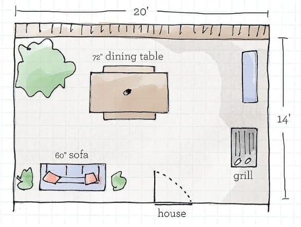 deck furniture arrangement template