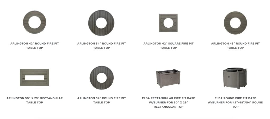 Different sizes, shapes and styles of gas fire pit tables from Ratana