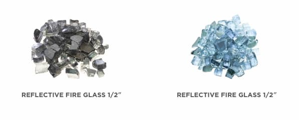 Reflective fire glass for natural gas and propane fire pits, tables and fire bowls