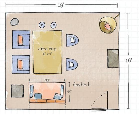 screened in porch furniture arrangement template