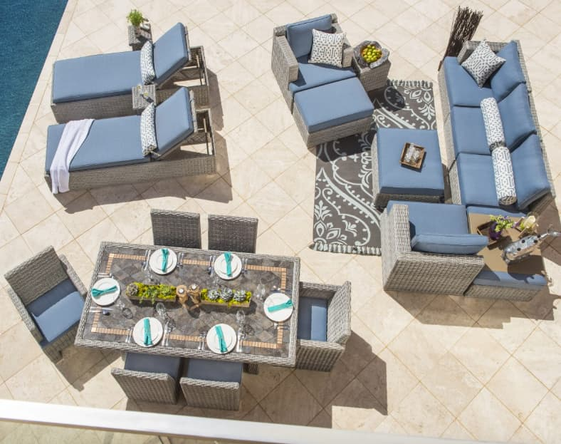 Separate sections for specific functions is the ideal outdoor furniture layout