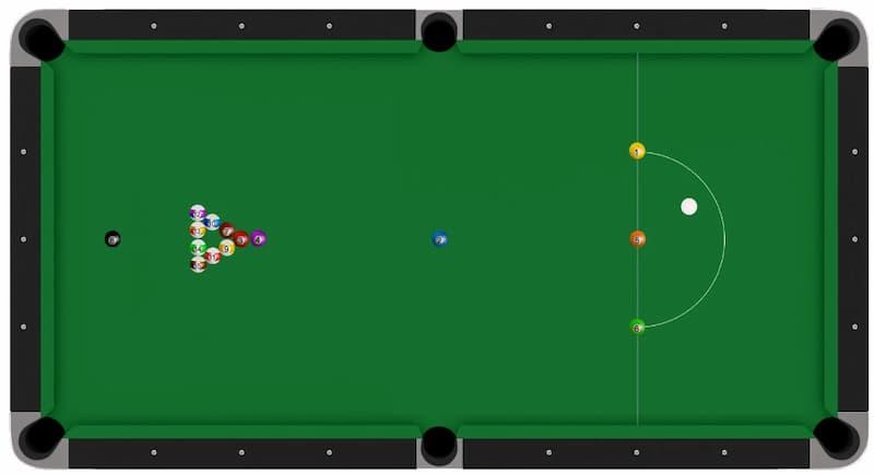 Snooker table set up balls