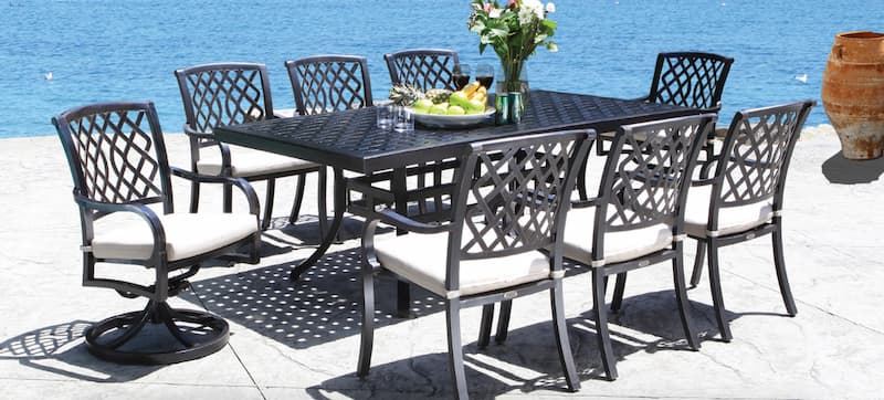 This cast aluminum dining set is ideal for durability during winter