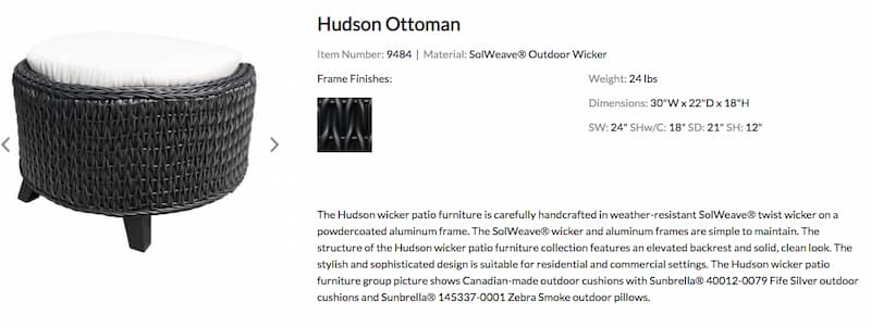 Hudson Ottoman from cabana coast is an example of SolWeave furniture that can stay outside during the winter