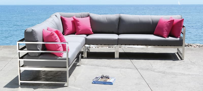 The stainless steel frame on this sectional can withstand the winter
